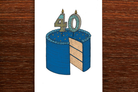 The Nonsense Maker Forty Birthday Cake Card