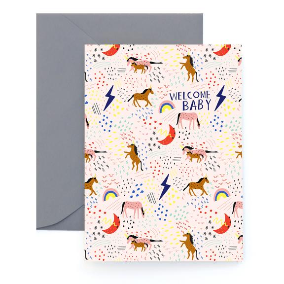 Carolyn Suzuki Unicorn Welcome Baby Card