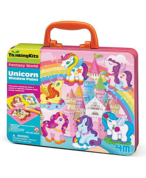 4M Unicorn Window Paints Thinking Tin