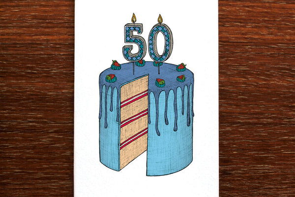 The Nonsense Maker 50 Birthday Cake Card