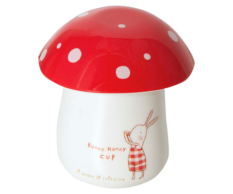 Maileg Bunny Honey Melamine with Cup with Egg Cup Lid RED