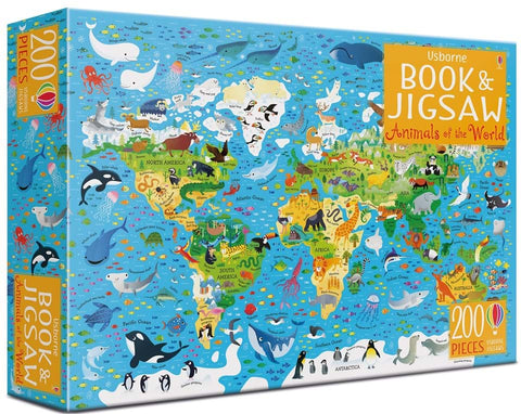 Usborne Book and JIgsaw Puzzle - Animals of the World