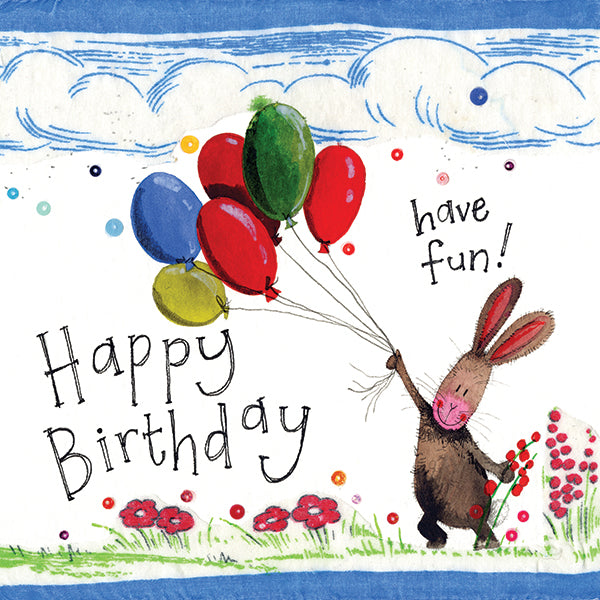 Alex Clark Art Rabbit and Balloons Birthday Card