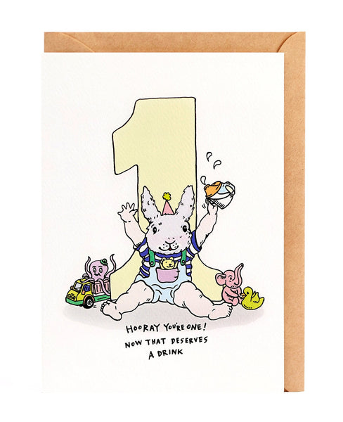 Wally Paper Co. Hooray You're 1 First Birthday Card