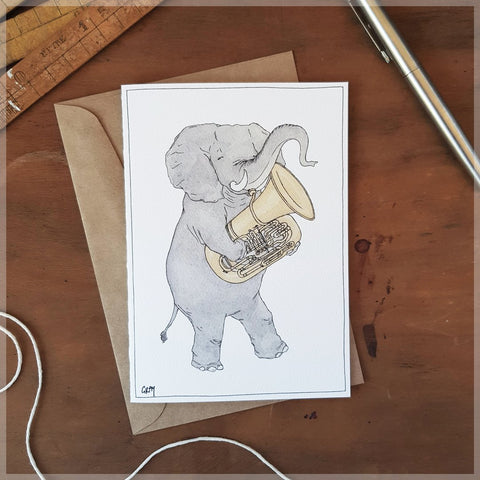 Erlenmeyer Elephant with Tuba Card