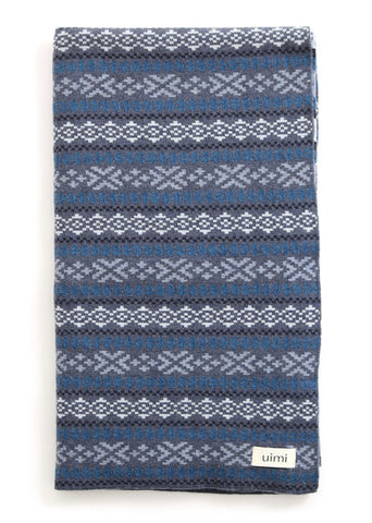 Uimi Alice Folk Pattern Merino Blanket. Size: Bassinet. Colour: Indigo