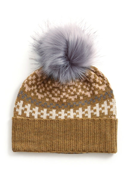 Uimi Alice Folk Pattern Kids Merino Beanie with Pom Pom