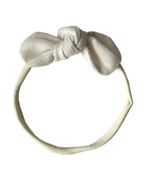 Pretty Wild Anna Bow Elastic Headband Natural Linen
