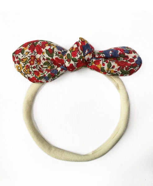 Pretty Wild Anna Bow Elastic Headband Liberty Print Pomegranate