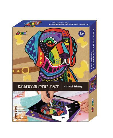 Avenir Clever Hands Canvas Pop Art Stencil Kit Dog