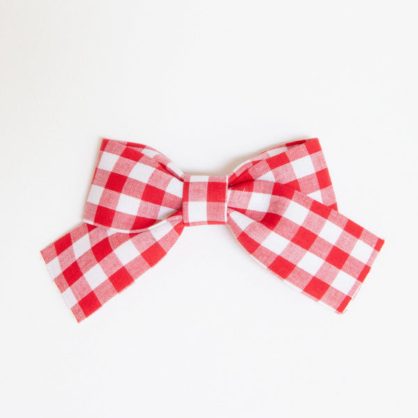 Pretty Wild Belle Big Bow Clip Red Check