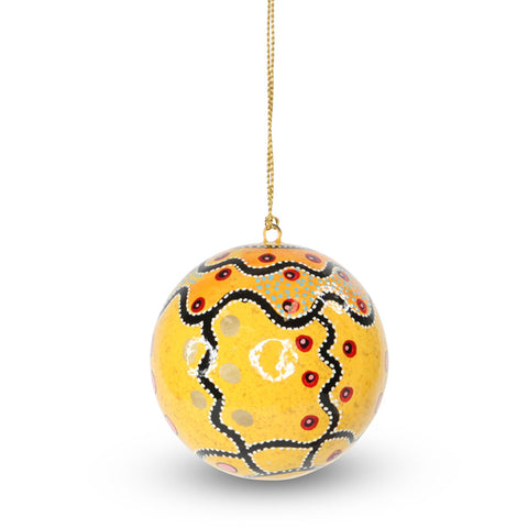Lacquered Indigenous Bauble Marsupial Mouse Dreaming (Yellow)