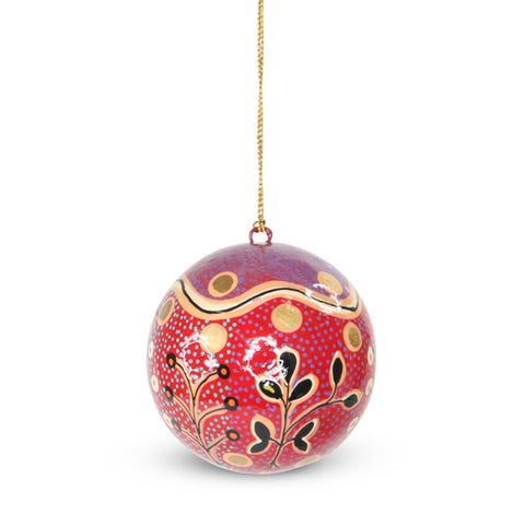 Lacquered Indigenous Bauble Tomato Dreaming (Red/Purple)