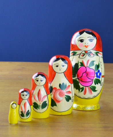 Peterhof: Hand Crafted Wooden 5 Piece Babushka. Yellow/Red. 11cm