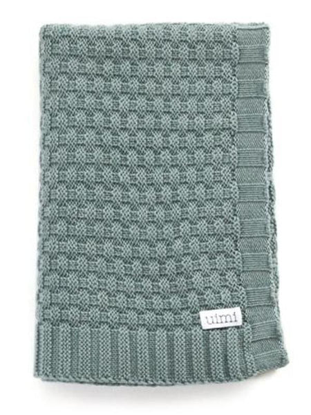 Uimi Bellamy Basket Weave Merino Blanket. Size: Bassinet. Colour: Sea
