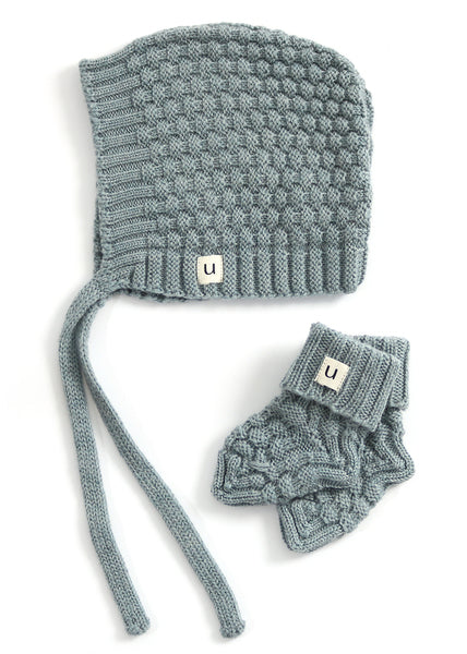 Uimi Bellamy Basket Weave Stitch Merino Hat and Bootie Set: Sea Size 00