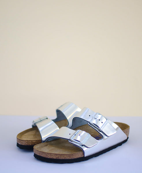 Birkenstock Arizona Metallic - Soft Footbed Silver