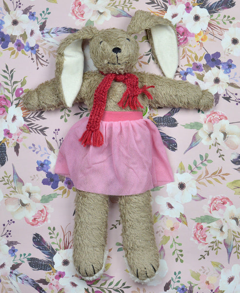 Nanchen Natur Tanzhase & Co Marie Rabbit in Pink Skirt: Organic Cotton Outer, 100% wool fill. 43cm