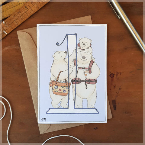Erlenmeyer Polar Bears First Birthday Card