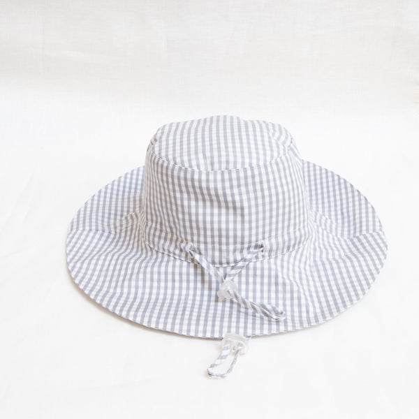 Pretty Wild Charlie Summer Hat Grey Gingham (Stone Check)