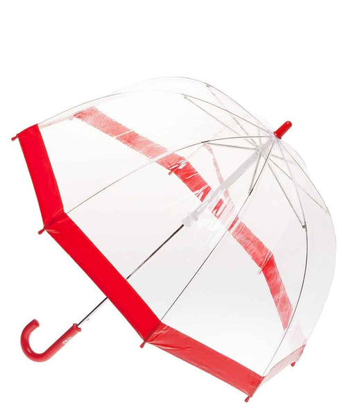 Clifton Umbrella - Brdcage Clear with Red Trim