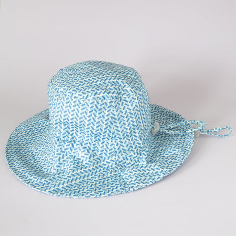 Pretty Wild Charlie Summer Hat Blue Herringbone