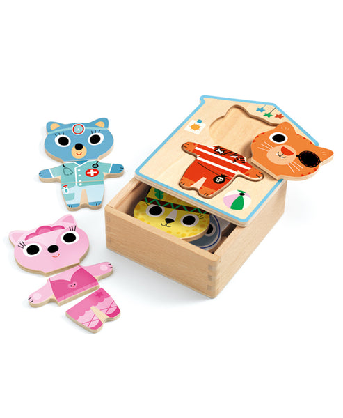 Djeco  Wood Box Puzzle Dress Up