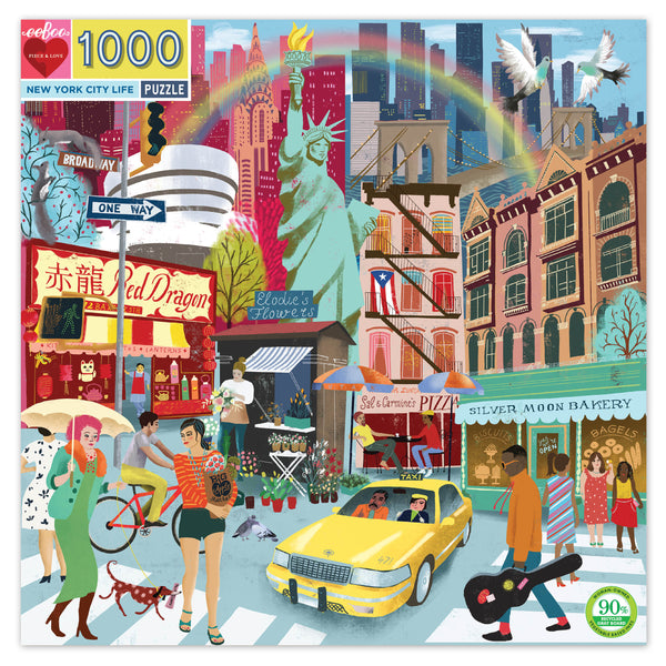 Eeboo 1000 Piece Round Jigsaw Puzzle New York City