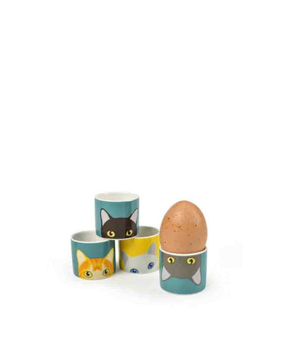 Burgon and Ball Doris Cat Egg Cups, Set of 4