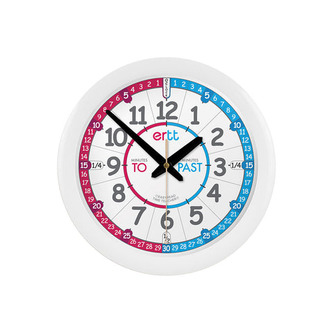 EasyRead Time Teacher Face Wall Clock: Red/Blue (Past/To)