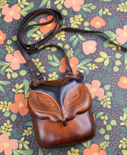 Handmade Leather Brown Fox Pouch Bag