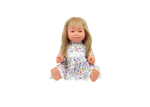 Down Syndrome Doll - Caucasian, Blonde Hair Girl 40cm