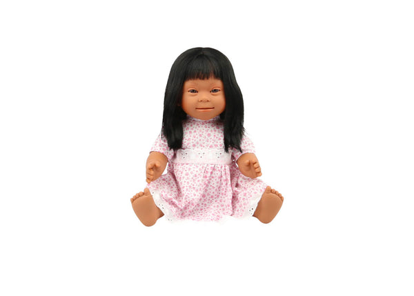 Down Syndrome Doll - Brown, Long Hair Girl 40cm