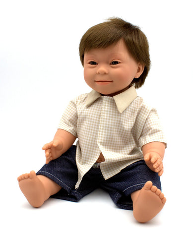 Down Syndrome Doll - Brunette Boy 40cm