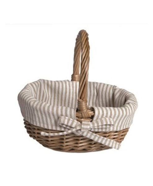 Knox and Floyd Basket With White and Beige Fabric