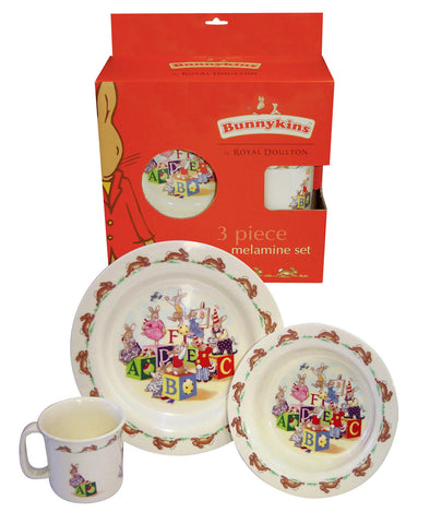 Royal Doulton Bunnykins 3 Piece Melamine Set Red ABC