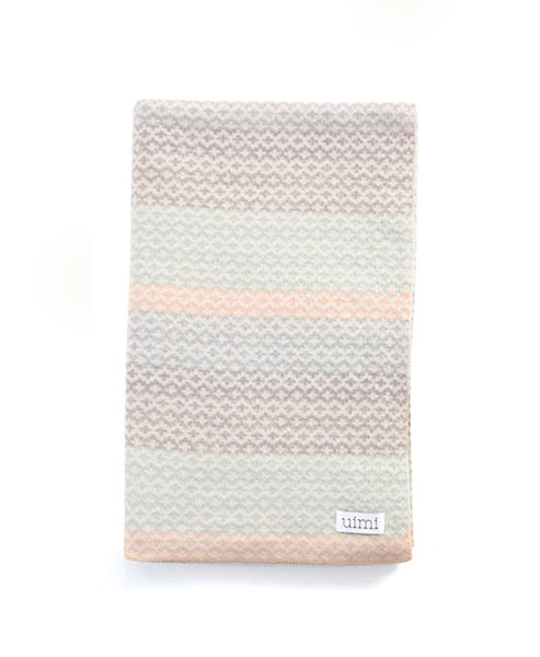 Uimi Isla Double Sided Fairisle Merino Blanket. Size: Bassinet. Colour: Marble