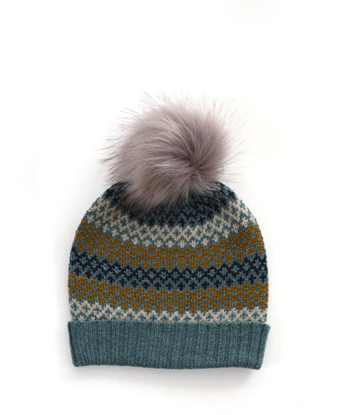Uimi Isla Fairisle Pattern Kids Merino Beanie with Pom Pom