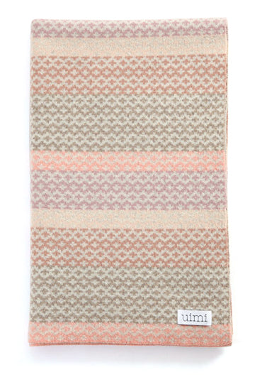 Uimi Isla Double Sided Fairisle Merino Blanket. Size: Bassinet. Colour: Butterscotch