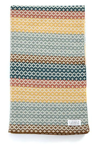Uimi Isla Double Sided Fairisle Merino Blanket. Size: Bassinet. Colour: Caribbean