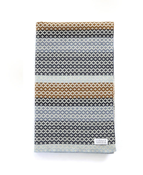 Uimi Isla Double Sided Fairisle Merino Blanket. Size: Bassinet. Colour: Duck Egg