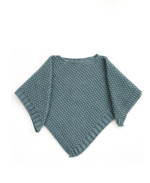 Uimi Bellamy Basket Weave Stich Poncho. Duck Egg