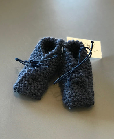 Knitted by Nana Merino Booties 0-6M Blue Denim