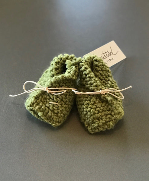 Knitted by Nana Merino Booties 0-6M Leaf