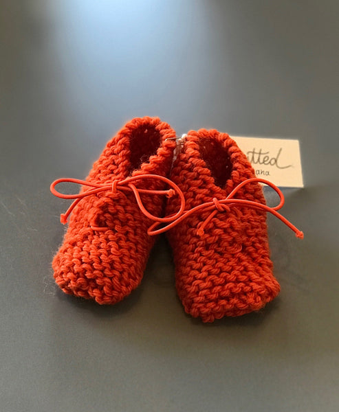 Knitted by Nana Merino Booties 0-6M Tangerine
