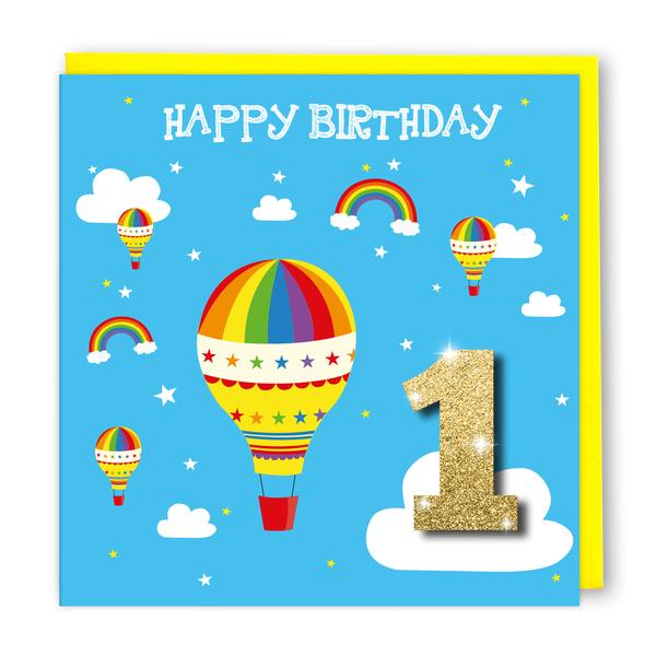 Tache 1st Birthday Hot Air Balloon Card