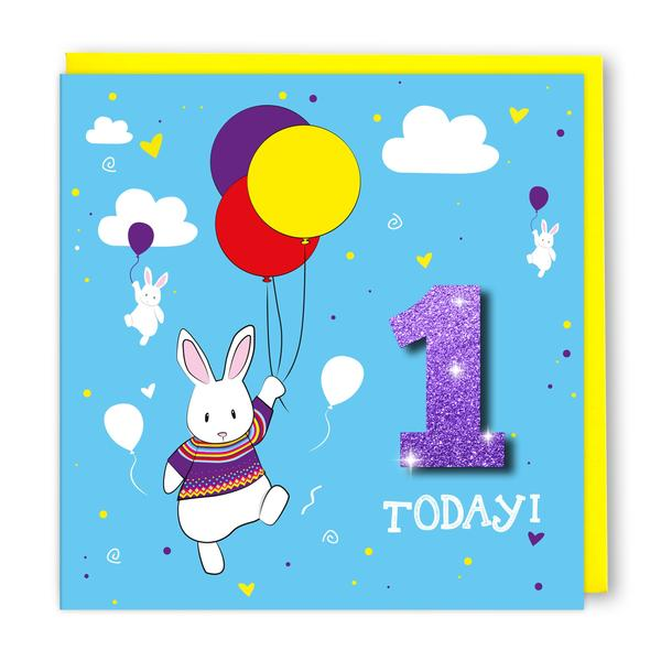 Copy of Tache 1st Birthday Rabbit Balloon Card