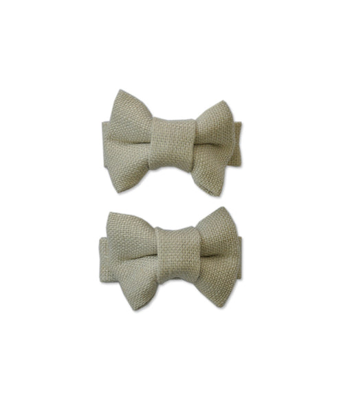 Pretty Wild Katie Twin Bow Clip Natural Linen