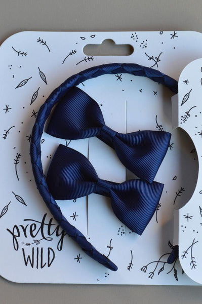 Pretty Wild Kimi with Matching Bows Set: Navy