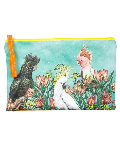 La La Land Clutch Purse / Pencil Case Cockatoos of Australia